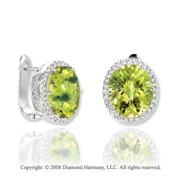 14k White Gold 5 Carat Lime Quartz .40 Carat Diamond Earrings