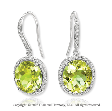 14k White Gold 12 1/2 Carat Lime Quartz 1/4 Carat Diamond Earrings