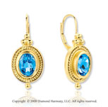 14k Yellow Gold 3.20 Carat Blue Topaz Drop Earrings