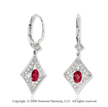 14k White Gold Ruby Diamond Drop Earrings
