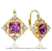 14k Yellow Gold Amethyst Diamond Drop Earrings