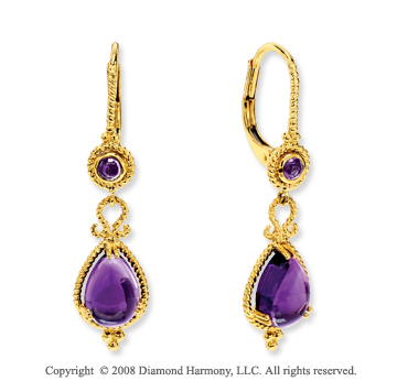14k Yellow Gold 4.60 Carat Amethyst Drop Earrings