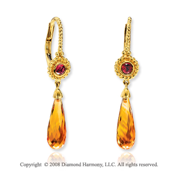 14k Yellow Gold Garnet Citrine Drop Earrings
