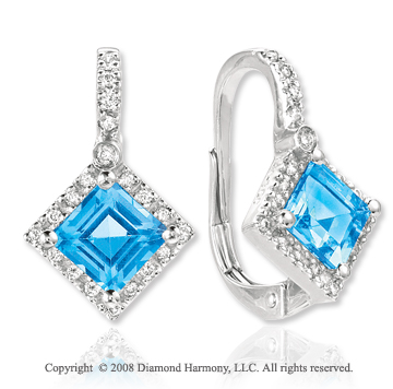 14k White Gold 3.20 Carat Blue Topaz Diamond Drop Earrings