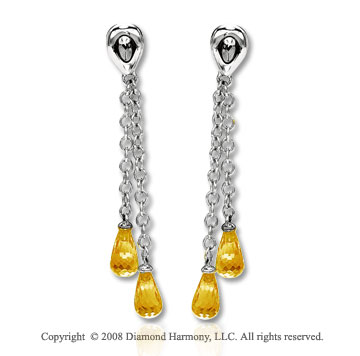 14k White Gold Simple Attra Carative Citrine Drop Earrings