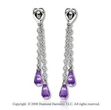 14k White Gold Attractive Amethyst Drop Earrings