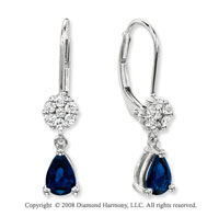 14k White Gold Simple Blue Sapphire Diamond Drop Earrings