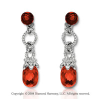 14k White Gold Simple Garnet Drop Earrings