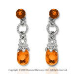 14k White Gold Simple Citrine Drop Earrings