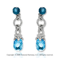 14k White Gold Simple Blue Topaz Drop Earrings