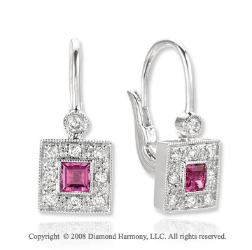 14k White Gold Pink Topaz Diamond Drop Earrings