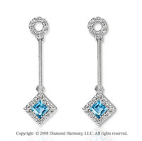 14k White Gold Stylish Blue Topaz Diamond Drop Earrings