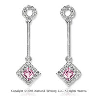 14k White Gold Stylish Amethyst Diamond Drop Earrings