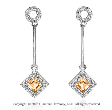 14k White Gold Stylish Citrine Diamond Drop Earrings