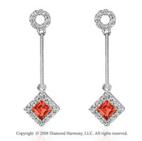 14k White Gold Stylish Garnet Diamond Drop Earrings