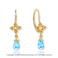 14k Yellow Gold Blue Topaz Diamond Drop Earrings