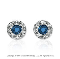 14k White Gold Fashionable Blue Sapphire Earrings