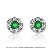 14k White Gold Fashionable Emerald Earrings