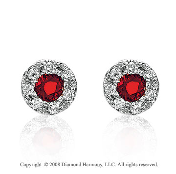14k White Gold Fashionable Ruby Earrings
