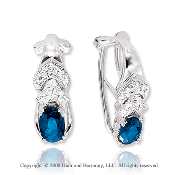 14k White Gold Blue Sapphire Diamond Earrings