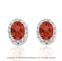 14k White Gold 2 Carat Garnet Diamond Earrings