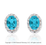 14k White Gold 1.90 Carat Blue Topaz Diamond Earrings