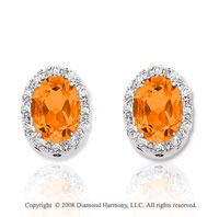 14k White Gold 1.50 Carat Citrine Diamond Earrings