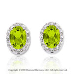 14k White Gold 1.60 Carat Peridot Diamond Earrings
