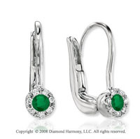 14k White Gold Emerald Diamond Earrings