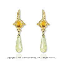 14k Yellow Gold Citrine Lime Quartz Diamond Drop Earrings
