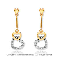 14k Yellow Gold Stylish Heart Diamond Drop Earrings