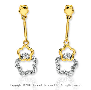 14k Yellow Gold Stylish Flower Diamond Drop Earrings