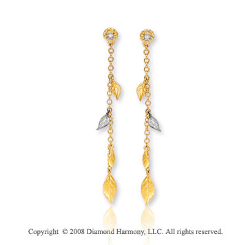 14k Two Tone Gold Amazing Leaf Diamond Drop Earrings