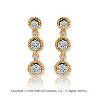 14k Yellow Gold Rope Studded Diamond Drop Earrings