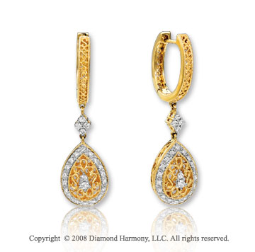 14k Yellow Gold Stunning Diamond Drop Earrings