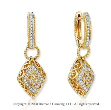 14k Yellow Gold Amazingly Beautiful Diamond Drop Earrings
