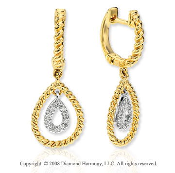 14k Yellow Gold Stylish Rope Diamond Drop Earrings