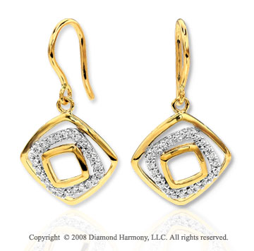 14k Yellow Gold Elegant Diamond Wire Hook Earrings