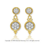 14k Yellow Gold Fashionable Rope Diamond Drop Earrings