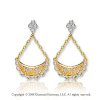 14k Yellow Gold Swinging Diamond Drop Earrings