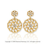 14k Yellow Gold Filigree Diamond Drop Earrings