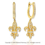 14k Yellow Gold .50 cwt Diamond Studded Drop Earrings