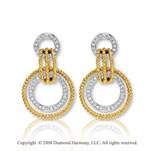 14k Yellow Gold Ring Diamond Drop Earrings