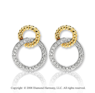 14k Two Tone Gold Entangled Diamond Drop Earrings