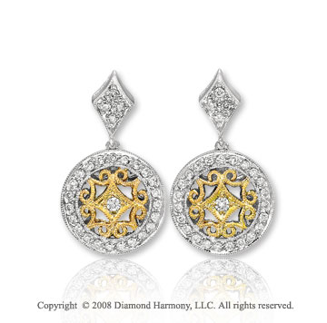 14k Two Tone Gold Artistic Diamond Drop Earrings
