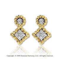 14k Yellow Gold Elegant Diamond Drop Earrings