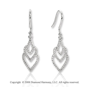 14k White Gold Heart Diamond Drop Earrings