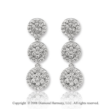 14k White Gold Stunning Diamond Drop Earrings