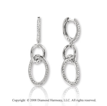 14k White Gold Stylish Diamond Drop Earrings