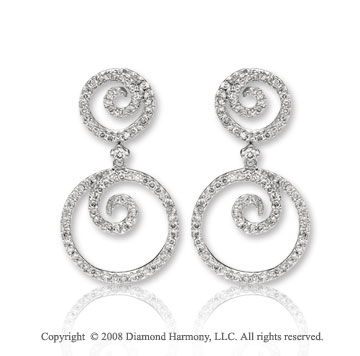 14k White Gold Artistic Diamond Drop Earrings